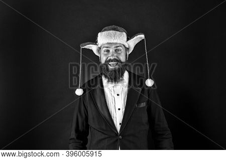 Celebrate Holiday At Office. Happy Man Wear Santa Hat. Businessman Smile With Festive Holiday Look.
