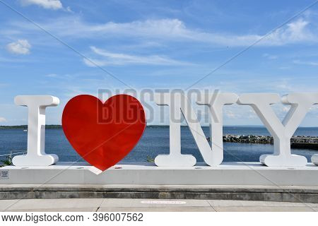 Geneva, Ny - Aug 21: I Love New York Sign At The Finger Lakes Welcome Center In Geneva, New York, As