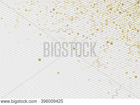 Gold Star Anniversary Vector Transparent Background. Festive Ribbon Poster. Serpentine Falling Desig