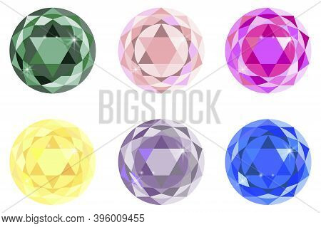 Cartoon Gems For Web Design. Precious Diamonds And Sapphires. Gem-shaped Buttons. Vector Image.