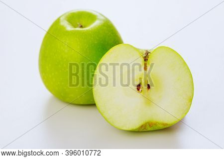 Green Juicy Apples Isolated On White Background. Produce Product.