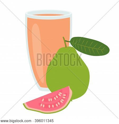 A Glass Of Guava Juice. Healthy Food. Vector Illustration Eps.