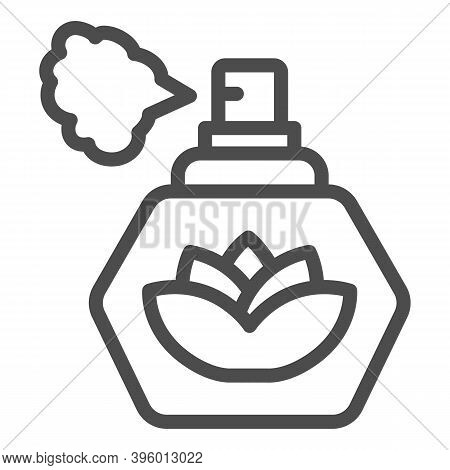 Perfume With Lotus Flower Line Icon, Hygiene Routine Concept, Spray Fragrance Sign On White Backgrou