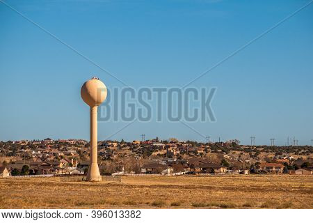 Colorado Living. Residential Winter Panorama With The Water Tower In Pueblo, Colorado