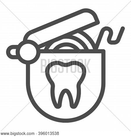 Roll Of Dental Floss Line Icon, Hygiene Routine Concept, Floss To Clean Teeth Sign On White Backgrou