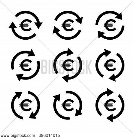 Set Of Euro Money Icon, Collection Of Eu Business Sign, Market Economy Vector Illustration