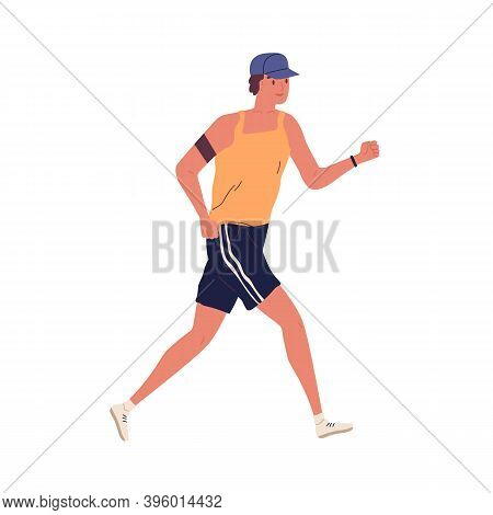 Young Guy Jogging With Armband. Man Running In Summer Sportswear. Sport Activity. Male In Shorts And