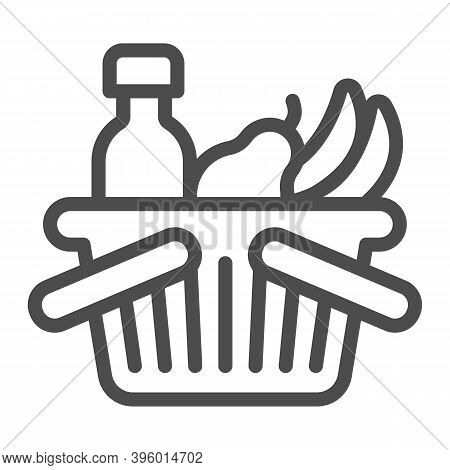 Basket With Bottle And Fruits Line Icon, Black Friday Concept, Shop Basket Sign On White Background,