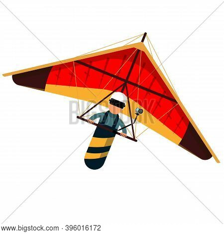 Man Hang Glider Icon Isolated On White Background. Vector Illustration. Hang Gliding And Sky Extreme