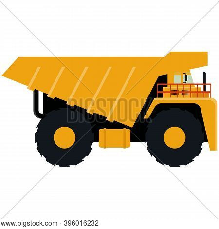 Dump Truck Icon Isolated On White Background. Vector Illustration. Heavy Industrial Tipper Truck Iso