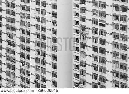 Exterior Of High Rise Residential Building In Pubkiuc Estate In  Hong Kong City