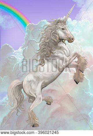 Beautiful white unicorn flying illustration