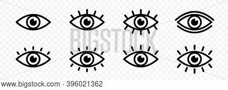 Eye Icon Set. Eyesight Symbol. Retina Scan Eye Icons. Simple Eyes Collection. Eye Silhouette. Vector