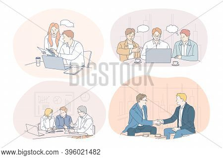 Teamwork, Brainstorming, Business, Negotiations, Deal, Office, Collaboration Concept. Business Peopl