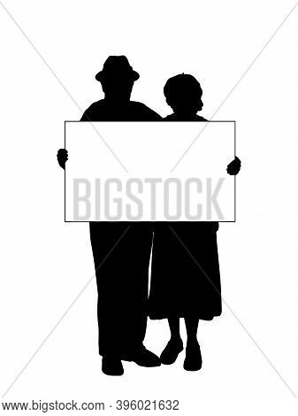 Silhouettes Grandparents Holds Banner Placard Blank White Sheet For Text Space. Illustration Symbol