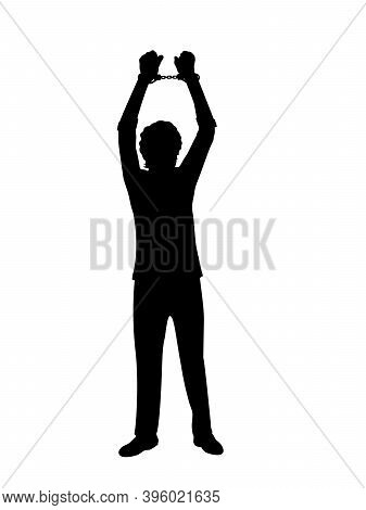 Silhouette Man With Your Hands Up In Handcuffs. Illustration Symbol Icon