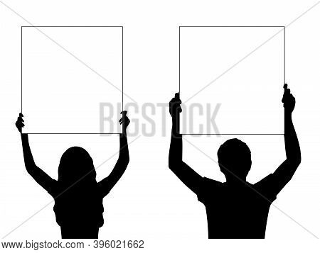 Silhouettes Men And Woman Holds Banner Placard Blank White Sheet For Text Space Closeup. Illustratio
