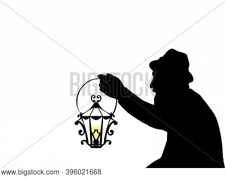 Silhouette Of Grandfather Hand With Lantern Closeup. Illustration Symbol Icon