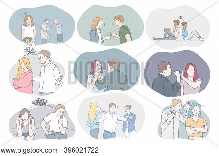 Conflicts In Couple, Misunderstanding, Problems In Communication Concept. Young Couples Arguing, Fig
