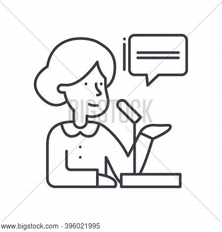 Politician Icon, Linear Isolated Illustration, Thin Line Vector, Web Design Sign, Outline Concept Sy