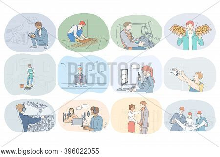 Professions, Occupation, Work, Job, Specialists, Labor, Business Concept. People Professional Design
