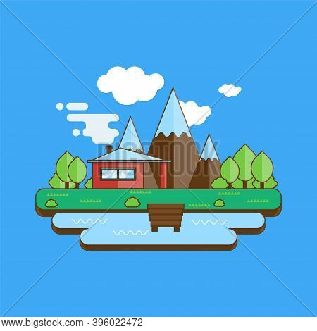 Mountain Landscape With A House By The Lake. Mountainous Terrain With Trees. Vector Illustration.