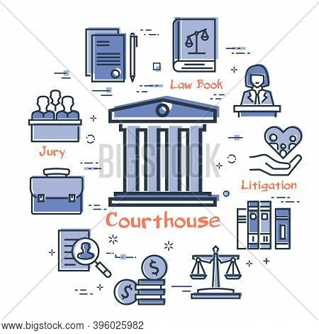 Vector Line Banner Of Legal Proceedings - Courthouse Icon