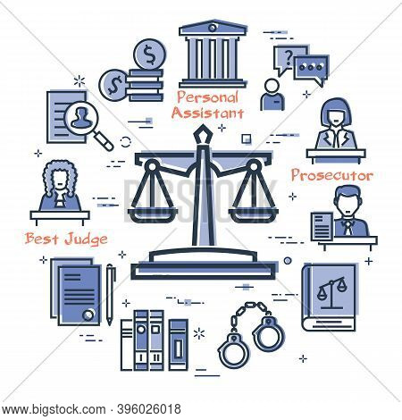 Vector Line Banner Of Legal Proceedings - Scales Of Justice Icon