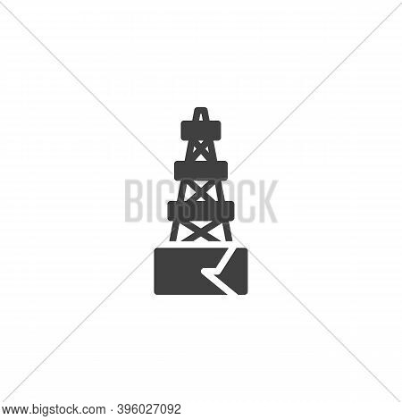 Oil Derrick Vector Icon. Filled Flat Sign For Mobile Concept And Web Design. Oil Rig Glyph Icon. Sym