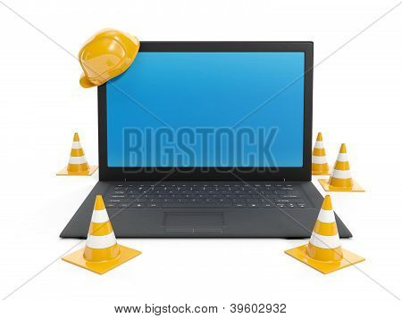 3D Illustration: Protections For The Repair And Laptop On White Background