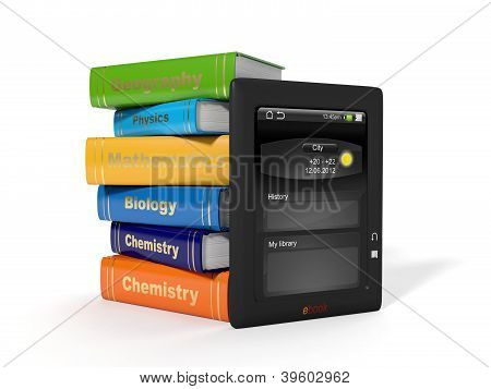 3D Illustration: High School Textbooks And E-book.