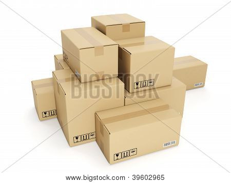 3D Illustration: Cardboard Box On White Background