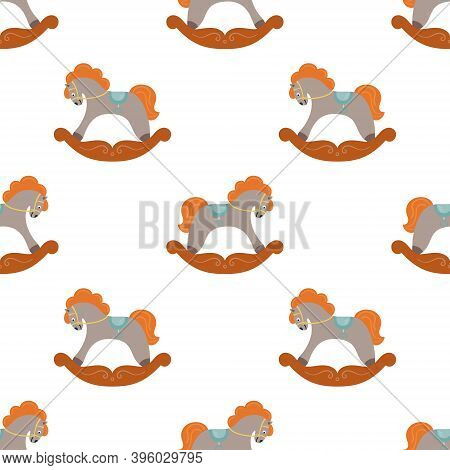 The Seamless Pattern With The Grey Cute Rocking Horses Is On White Background. The Save With The Cli
