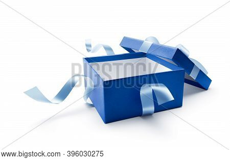 Blue Open Gift Box With Ribbon Isolated On White Background