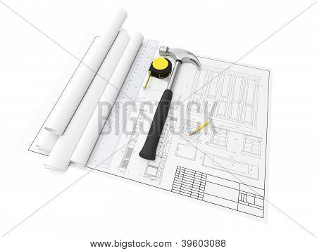 3D Illustration: Design And Development Of Furniture, Drawings, Hammer, Ruler And Tools On A White B