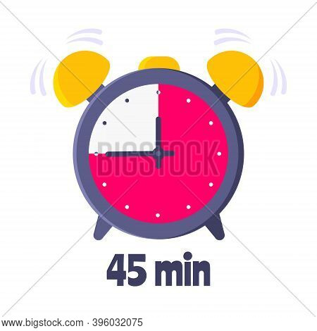 Forty Five Minutes On Analog Clock Face Flat Style Design Vector Illustration Icon Sign Isolated On