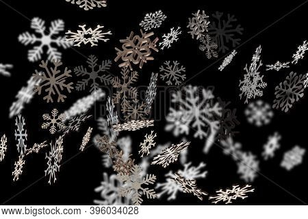Stylish Snowflakes Falling On A Blackbackground For Christmas. Decoration Winter Pattern