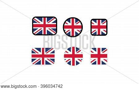 Set Of Flags Of United Kingdom. National United Kingdom Flag. United Kingdom Symbol. Vector Illustra