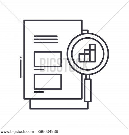 Market Magnifer Icon, Linear Isolated Illustration, Thin Line Vector, Web Design Sign, Outline Conce