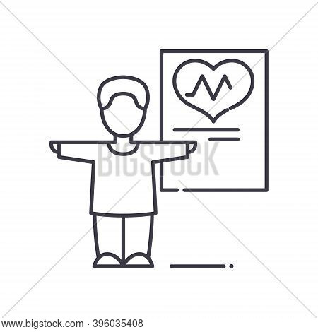 Physical Checkup Icon, Linear Isolated Illustration, Thin Line Vector, Web Design Sign, Outline Conc