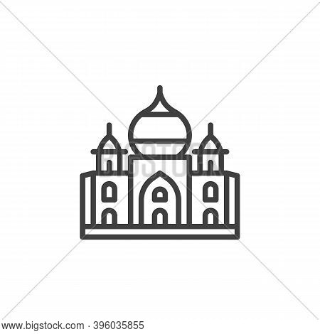 Taj Mahal Palace Line Icon. Linear Style Sign For Mobile Concept And Web Design. India Landmark Outl