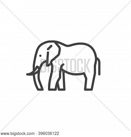 Elephant Side View Line Icon. Linear Style Sign For Mobile Concept And Web Design. Elephant Animal O