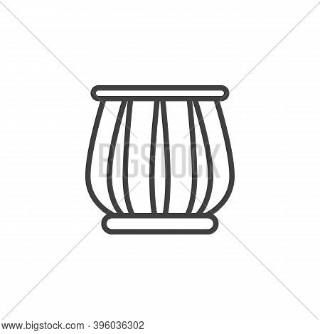 Indian Drums Tabla Line Icon. Linear Style Sign For Mobile Concept And Web Design. Tabla Musical Ins