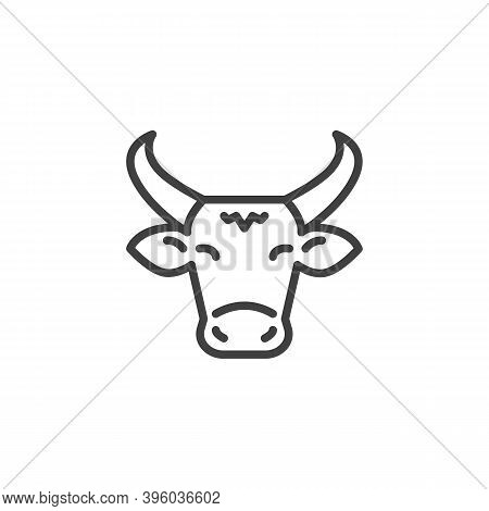 Cow With Horns Line Icon. Linear Style Sign For Mobile Concept And Web Design. Cow, Head Front View