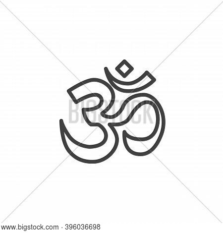 Om Sign Line Icon. Linear Style Sign For Mobile Concept And Web Design. Outline Vector Icon. Aum Om