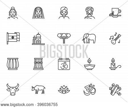 Indian Culture Line Icons Set. Happy Diwali Linear Style Symbols Collection, Outline Signs Pack. Vec