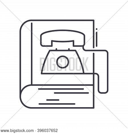 Phonebook Concept Icon, Linear Isolated Illustration, Thin Line Vector, Web Design Sign, Outline Con