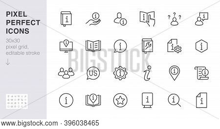 Information Line Icon Set. Privacy Policy, Manual, Rule, Instruction, Inform, Guide, Reference Minim