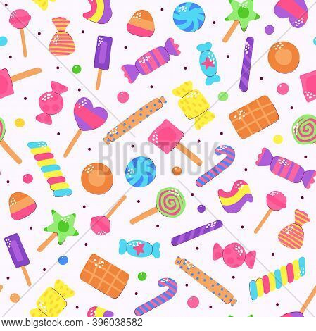 Cute Multicolored Candy Set. Sugar Sweets On Light Background. Gummy, Chocolate, Caramel, Lollipops,