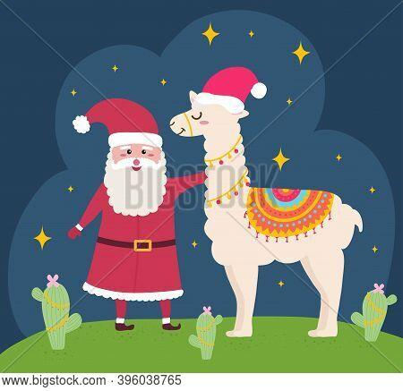Christmas Cartoon Peruvian Llama Alpaca And Santa Claus Vector Graphic Design. Animal With Peru Colo